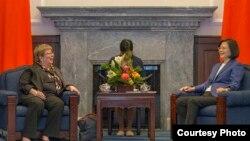 台湾总统蔡英文2018年5月会见USCC的白嘉玲(台湾总统府照片)
