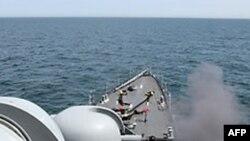 Южнокорейское судно во время учений