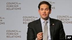 美佛罗里达州共和党籍联邦参议员、竞争共和党总统候选人提名的鲁比奥在美国外交关系协会发表讲话(2015年5月13日)