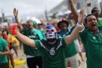 Mexican fans celebrate their opening round World Cup victory.