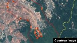북한 처마봉 통제구역의 위성사진. 새 수용소 위치가 지도에 붉은 선으로 표시돼 있다. 북한인권위원회, '올소스 어낼러시스' 제공.