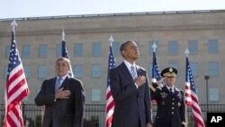 美國總統奧巴馬﹑國防部長帕內塔(左)和參謀長聯席會議主席登普西星期二在五角大樓紀念紀念9月11日恐怖襲擊11週年