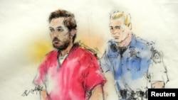 法庭素描画面显示科罗拉多州影院枪击案嫌疑人霍尔姆斯2013年1月7日出庭参加预审聆讯。