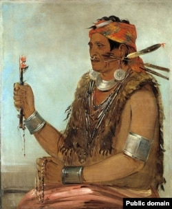 "An 1830 portrait by artist George Catlin of Tenskwatawa, the 19th Century Shawnee ""Prophet"" and younger brother of Tecumseh."