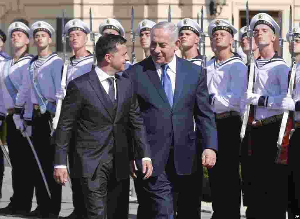 رئیس جمهوری اوکراین در شهر کییف پایتخت این کشور میزبان بنیامین نتانیاهو نخست وزیر اسرائیل است.