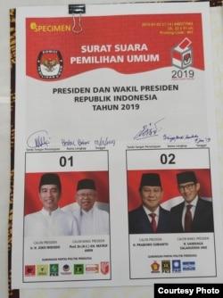 Desain surat suara untuk Pemilihan Presiden 2019 yang disepakati oleh tim kampanye Pilpres kedua pasangan di kantor KPU Jakarta, Jumat 4/1 (Courtesy: KPU).