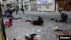 صحنه انفجار یک بمب در استانبول، ۱۹ مارس ۲۰۱۶