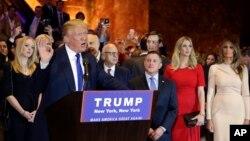 19일 미국 뉴욕주 경선에서 승리가 확정된 도널드 트럼프 공화당 대선 후보가 뉴욕시 유세에서 연설하고 있다.