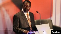 Kenyan Prime Minister and presidential candidate Raila Odinga attends the second presidential debate at Brookhouse School in Nairobi, Feb. 25, 2013.