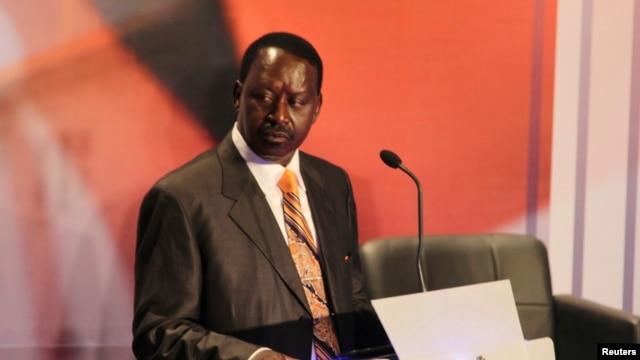 Kenyan Prime Minister and presidential candidate Raila Odinga attends the second presidential debate at Brookhouse School in Nairobi, February 25, 2013.