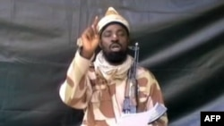 FILE - A grab made on July 13, 2013 from a video obtained by AFP shows the leader of the Islamist extremist group Boko Haram Abubakar Shekau, dressed in camouflage and holding an Kalashnikov AK-47.