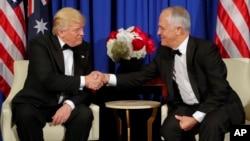 Le président Donald Trump et le Premier ministre australien Malcolm Turnbull à New York, le 4 mai 2017.