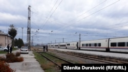 Bosnia and Herzegovina - Talgo train that goes on route Sarajevo-Bihac is stopped on a train station in Bihac with 90 migrants passengers who are not allowed to leave the train. 24. October 2018.