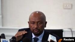Seleshi Bekele, ministre éthiopien de l'eau, de l'irrigation et de l'énergie lors d'une conférence de presse sur l'état actuel de la construction du barrage du Grand Nil à Addis-Abeba, Éthiopie, le 18 septembre 2019. (Photo: REUTERS / Tiksa Negeri)