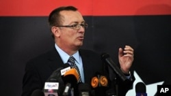 US Assistant Secretary of State for Near Eastern Affairs Jeffrey Feltman at a press conference in the Libyan rebel stronghold eastern city of Benghazi on May 24, 2011