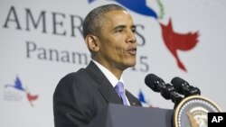 Presiden Barack Obama, berbicara dalam KTT Amerika di Panama City, mengatakan bukannya membuat kesepakatan dengan Iran lebih baik, pengritik di Partai Repubik sepertinya berusaha untuk menghancurkannya, 11 April 2015.
