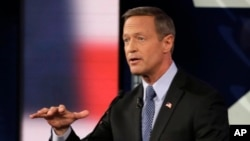 FILE - Martin O'Malley speaks during a Democratic presidential primary debate, in Des Moines, Iowa, Nov. 14, 2015.