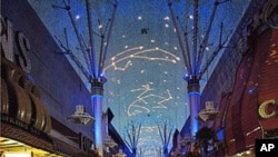 Each night on Old Las Vegas's Fremont Street, lights and speakers create a show overhead.