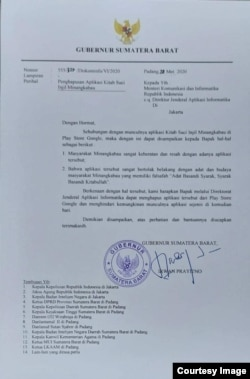 Surat Gubernur Sumbar Irwan Prayitno yang ditujukan kepada Menkominfo Johnny G Plate agar menghapus aplikasi Alkitab bahasa Minang di Google Play Store.