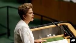Presiden Brazil Dilma Rousseff berpidato pada Sidang Majelis Umum PBB di kantor PBB, Senin, 28 September 2015.