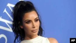 FILE - Kim Kardashian at the 2018 CFDA Fashion Awards at the Brooklyn Museum in Brooklyn, New York.