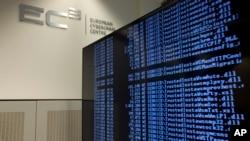 Des données informatiques affichées sur un écran lors d'une tournée médiatique à l'occasion de l'ouverture officielle du Centre de cybercriminalité au siège d'Europol à La Haye, aux Pays-Bas, 11 janvier 2013.