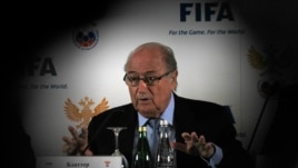 FIFA President Sepp Blatter speaks during a news conference in St. Petersburg, Russia, Jan. 20, 2013.