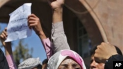 Yemeni activist Tawakul Karman during Saturday's anti-government protest in Sana'a