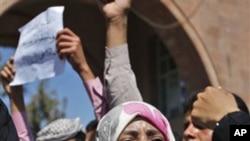 Yemeni activist Tawakul Karman during Saturday's anti-government protest in Sana'a