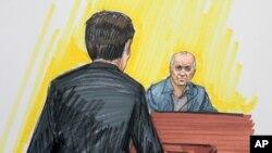 法庭速写画显示赫德利在芝加哥一联邦法庭上