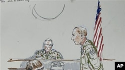 In this courtroom sketch, U.S. Army Cpl. Jeremy Morlock of Wasilla, Alaska, center, is shown as Col. Thomas Molloy, right, the investigating officer, and Morlock's attorney, Michael Waddington, left, look on, at Joint Base Lewis-McChord, Washington, Septe