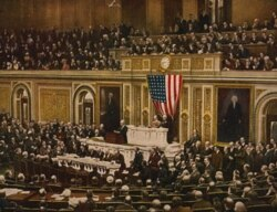 President Woodrow Wilson asks Congress to declare war on Germany in April 1917
