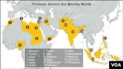 Mapa zemalja u kojima su organizovani protesti
