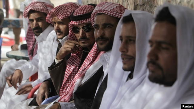 Bedouins attend a gathering during Egyptian presidential candidate and former Arab League secretary general Amr Moussa's visit to South Sinai as part of his presidential campaign tour, February 23, 2012.