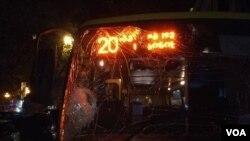 დაზიანებული ავტობუსის ვეკუას ქუჩაზე