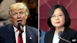 Tổng thống đắc cử Mỹ Donald Trump (trái) và Tổng thống Đài Loan Thái Anh Văn.