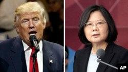 "FILE - This combination of two photos shows U.S. President-elect Donald Trump speaking during a ""USA Thank You"" tour event in Cincinatti, Dec. 1, 2016, and Taiwan's President Tsai Ing-wen, delivering a speech during National Day celebrations in Taipei, Taiwan."