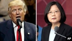"FILE - This combination of two photos shows U.S. President-elect Donald Trump speaking during a ""USA Thank You"" tour event in Cincinatti, Dec. 1, 2016, and Taiwan's President Tsai Ing-wen, delivering a speech during National Day celebrations in Taipei."