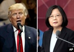 "FILE - This combination of two photos shows U.S. President-elect Donald Trump speaking during a ""USA Thank You"" tour event in Cincinatti, Dec. 1, 2016, and Taiwan's President Tsai Ing-wen, delivering a speech during National Day celebrations in Taipei, Ta"