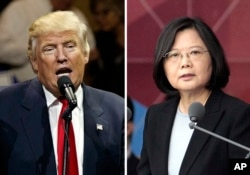 This combination of two file photos shows U.S. President Donald Trump and Taiwan's President Tsai Ing-wen.