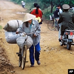 A 2000 file photo shows a Vietnamese woman using a bicycle to transport goods to market as she walks along the Ho Chi Minh Trail near the town of Trung Hoa in Quang Binh Province northwest of Ho Chi Minh City.