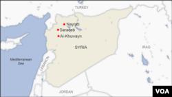 Peta Kota Nayrab, Saraqeb, dan Al-Khuwayn di Suriah.