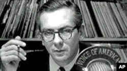 Willis Conover broadcasting at the Voice of America (undated photo)