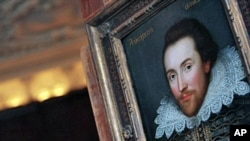FILE - A portrait of William Shakespeare is pictured in London, painted in 1610 and thought to be the only surviving picture of him painted in his lifetime.