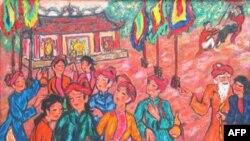 Hội làng Lim, sơn dầu trên bố 120 x 160 cm