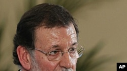 Spain's Prime Minister Mariano Rajoy during a press conference at the Moncloa Palace, in Madrid, March 17, 2012