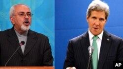 Menteri Luar Negeri Iran Javad Zarif (kiri) dan Menlu AS John Kerry melakukan perundingan nuklir dengan para Menlu P5+1 di New York Kamis 26/9 (foto: dok).