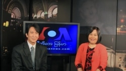 VOA Burmese Service Chief Than Lwin Htun and co-anchor Nyo Nyo Lwin.