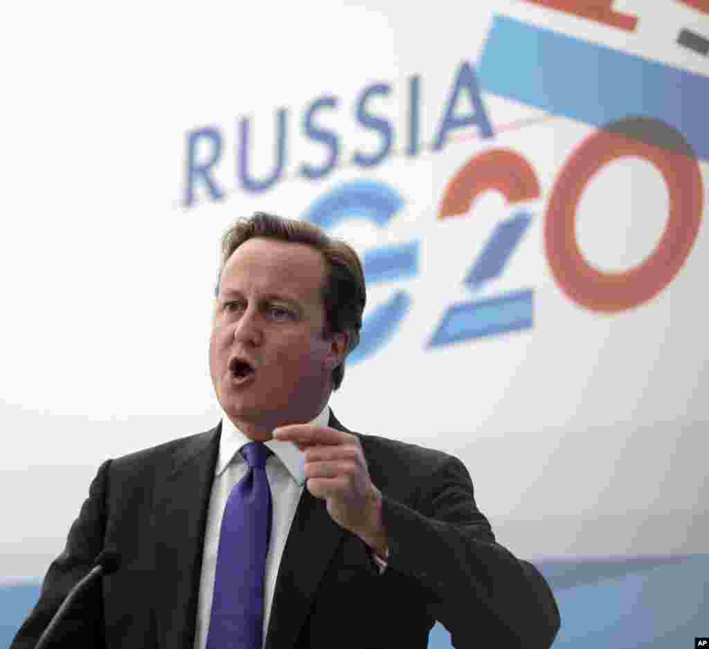 British Prime Minister David Cameron speaks during a media conference after a G-20 summit in St. Petersburg, Russia on Friday, Sept. 6, 2013.