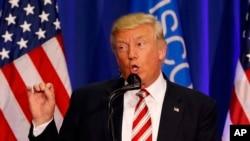 미국 공화당의 도널드 트럼프 대선후보가 16일 위스콘신주 웨스트벤드에서 열린 유세에서 연설하고 있다. (자료사진)